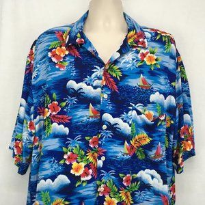 Polo Ralph Lauren Mens XLT Hawaiian Shirt Blue